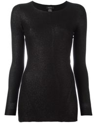 Avant Toi | Black Slim-fit Glitter Detail Top | Lyst