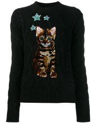 Dolce & Gabbana | Black Bengal Cat Patch Jumper | Lyst