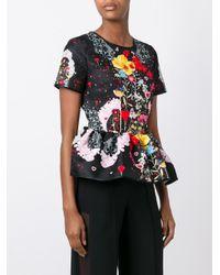 Piccione.piccione - Black Floral Print Blouse - Lyst