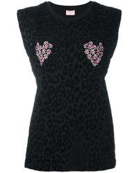 Giamba | Black Sleeveless Animal Print Sweatshirt | Lyst
