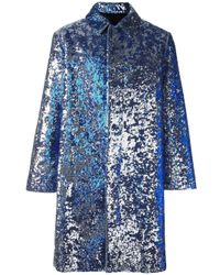 AMI | Blue Sequined Single Breasted Coat for Men | Lyst