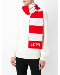 LC23 - Red Logo Intarsia Striped Scarf for Men - Lyst