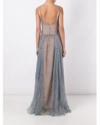 Alberta Ferretti | Blue Lace Overlay Slip Dress | Lyst