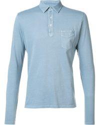 Officine Generale - Blue Longsleeved Jersey Polo Shirt for Men - Lyst
