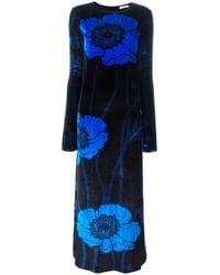 Nina Ricci | Black Long Velvet Printed Dress | Lyst