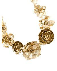 Oscar de la Renta   Metallic Flower Statement Necklace   Lyst