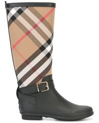 Burberry - Black 'house Check' Rain Boots - Lyst