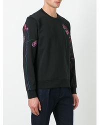 Paul Smith - Black Floral Embroidery Sweatshirt for Men - Lyst