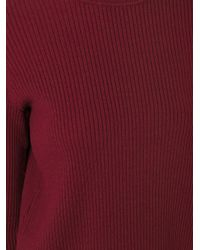 Victoria, Victoria Beckham - Red Open Back Ribbed Jumper - Lyst
