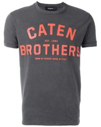 DSquared²   Gray Caten Brothers T-shirt for Men   Lyst