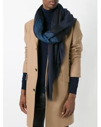 Burberry - Blue Checked Scarf for Men - Lyst