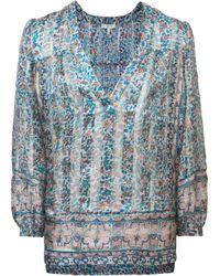 Joie | Blue Floral Print Blouse | Lyst