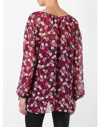 Saint Laurent - Red Anemone Print Gypsy Blouse - Lyst