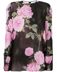 Giambattista Valli | Black Floral Print Sheer Blouse | Lyst