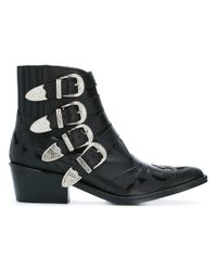 Toga - Black Ankle Height Buckle Boots - Lyst