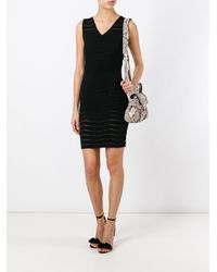 Twin Set - Black Ribbed Detail Fitted Dress - Lyst