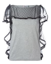RED Valentino | Gray Ruffled Sheer Detailing Blouse | Lyst