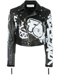 Faith Connexion | Black Hand-painted Graffiti Biker Jacket | Lyst