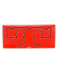 Tory Burch | Red Logo Motif Clutch | Lyst