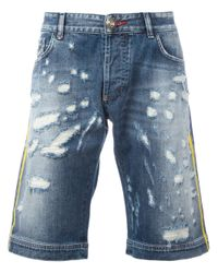 Philipp Plein | Blue Distressed Denim Shorts for Men | Lyst