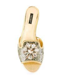 Dolce & Gabbana   Metallic Embellished Flat Sandals   Lyst