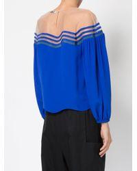 Fendi | Blue Puff Sleeve Blouse | Lyst