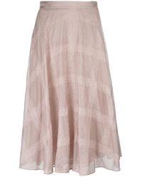 Valentino | Pink - Lace Panel Skirt - Women - Cotton - 44 | Lyst