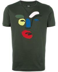 Fendi - Green Abstract Face T-shirt for Men - Lyst