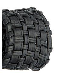 Monies - Black Woven Leather Bracelet - Lyst