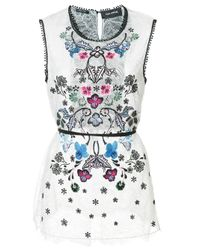 Yigal Azrouël | White Floral Embroidered Top | Lyst