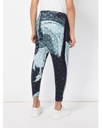 Homme Plissé Issey Miyake - Blue Homme Plissé Issey Miyake Abstract Print Drop-crotch Trousers for Men - Lyst