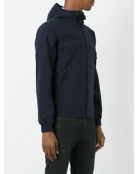 Stone Island - Blue Kangaroo Pockets Zipped Hoodie for Men - Lyst