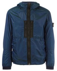 Stone Island | Blue Hooded Shell Jacket for Men | Lyst