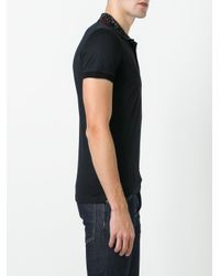 DSquared² - Black Studded Collar Polo Shirt for Men - Lyst