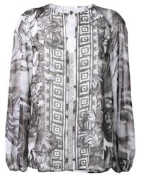 Versace | Gray Baroque Print Loose Blouse | Lyst