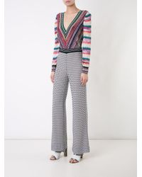 Missoni - Multicolor Striped V-neck Knitted Blouse - Lyst