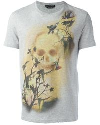 Alexander McQueen | Gray Skull And Bird Print T-shirt for Men | Lyst