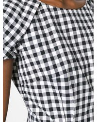 Blumarine - Black Shortsleeved Checked Dress - Lyst