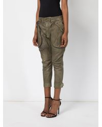Faith Connexion - Green Cropped Leather Trousers - Lyst