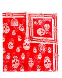Alexander McQueen | Red Skull Print Scarf | Lyst