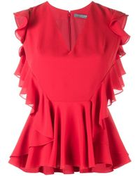 Alexander McQueen   Red Ruffle-trimmed Sleeveless Blouse   Lyst