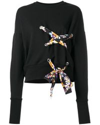 MSGM | Black Lace-up Detail Sweatshirt | Lyst