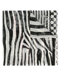 Marc Jacobs | Black - Striped And Checked Scarf - Women - Silk/modal - One Size | Lyst