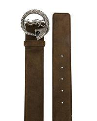 Saint Laurent - Brown Monogram Serpent Buckle Belt for Men - Lyst
