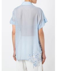N°21 - Blue Embroidered Detail Polo Shirt - Lyst