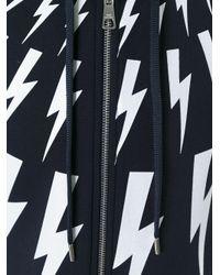 Neil Barrett - Blue Lightning Bolt Zip Hoodie for Men - Lyst