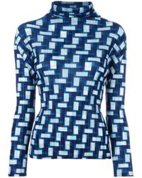 Pleats Please Issey Miyake | Blue Geomtric Print Pleated Blouse | Lyst