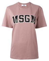 MSGM   Pink - Logo Print T-shirt - Women - Cotton - M   Lyst
