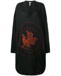 Loewe - Black V-neck Oversized Sweater Dress - Lyst