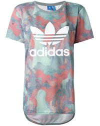 Adidas Originals | Blue Camouflage Trefoil Boyfriend-fit T-shirt | Lyst